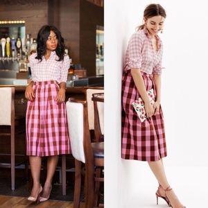 J Crew Cotton Midi Skirt Oversized Gingham Check